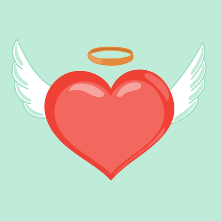 Heart with wings and nimbus. Cute cartoon style illustration. Love inspires concept. Winged hearts, shining nimb. Angel concept, love symbol. Happy Valentines Day vector illustration. Illustration