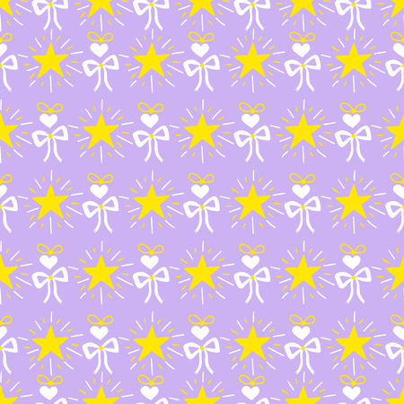 cute baby girls: Little princess pattern vector. Lilac print with stars, bow and heart. Cute baby girl background for template birthday card, baby shower invitation, girls wallpaper, clothing or dress fabric. Illustration