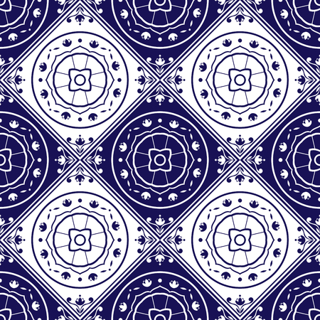 Delft dutch tiles pattern vector with blue and white ornaments. Portuguese azulejo, mexican, spanish, arabic or moroccan motifs. Tiled background for wallpaper, surface texture, wrapping or fabric.
