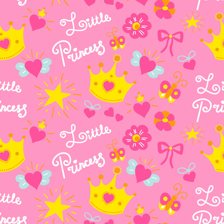 Pink little princess pattern vector. Sweet baby background for template birthday card, baby shower invitation, kids wallpaper and fabric. Girl print with stars, crowns, bows and hearts.