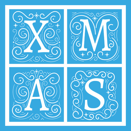 frosted: Christmas banner or card template. Winter initial letters vector. Illustration with frosted pattern on window.