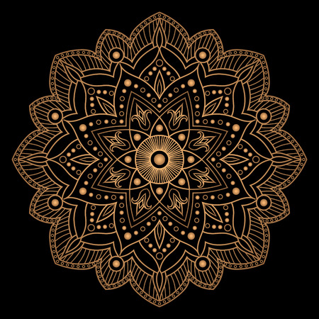 Flower gold black element design. Mandala vector isolated. Luxury snowflake for Christmas greeting card. Indian, oriental or Arabic ornament. Floral symbol for yoga studio, wedding invitation. Illustration