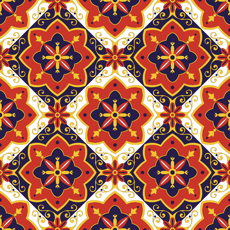 Italian tiles pattern vector with diagonal blue, red, yellow and white ornaments. Portuguese azulejo, sicilia majolica, mexican talavera, spanish, arabic or moroccan motifs.
