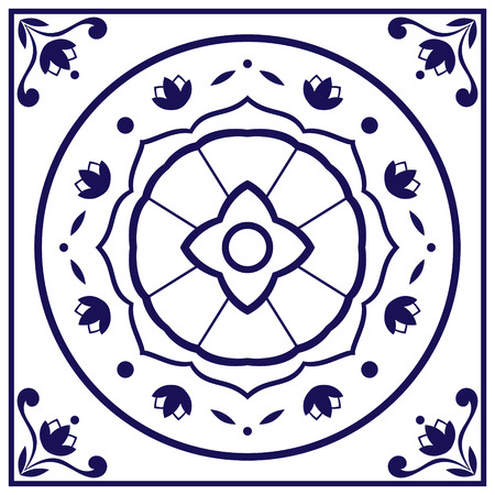 Blue white tile vector. Delft dutch or portugal tiles pattern with indigo and white ornaments. Ilustração