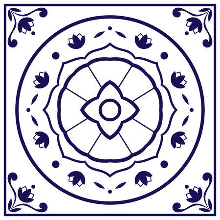 Mattonelle blu vettoriale. Delft olandese o il Portogallo porzioni di pattern con indaco e ornamenti bianchi. Archivio Fotografico - 69358569