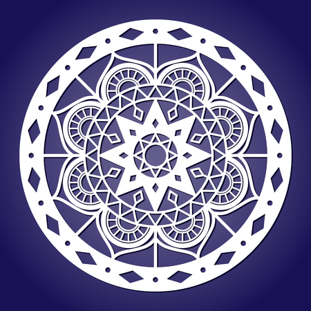 Snowflake laser cut vector template. Winter holiday cutting pattern. Oriental mandala decoration ornament for paper or fretwork.