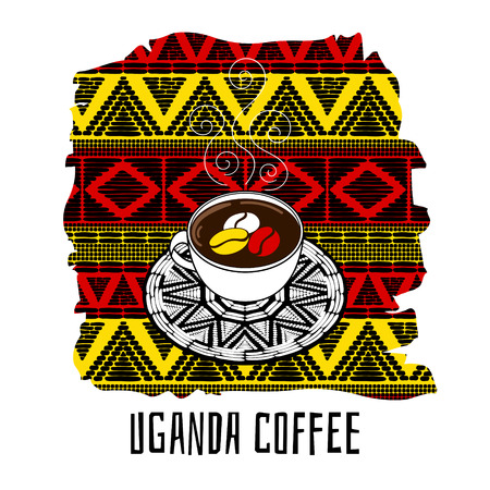 Uganda coffee vector illustration. Coffee cup on decorated tribal background. Design for banner, flyer, poster or tourist drink and food design.