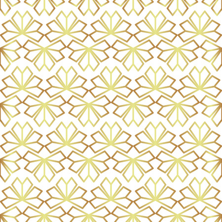 Geometric abstract golden background vector and floral foil texture. Seamless modern floral fan line pattern vector for fabric or paper design.