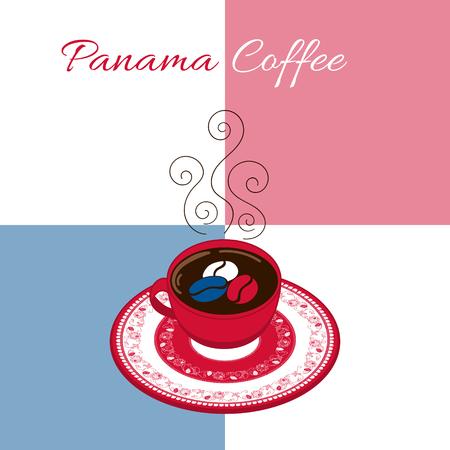 Panamá ilustración vectorial de café. Taza de café con plato decorado floral en fondo de la bandera. Concepto para el café de la bandera o folleto, etiqueta, el cartel de alimentos, etiqueta o diseño turístico Postal del recuerdo.