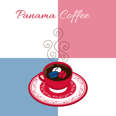 bandera de panama: Panama coffee illustration vector. Coffee cup with floral decorated plate on flag background. Concept for cafe banner or flyer, label, food poster, sticker or tourist souvenir postcard design.
