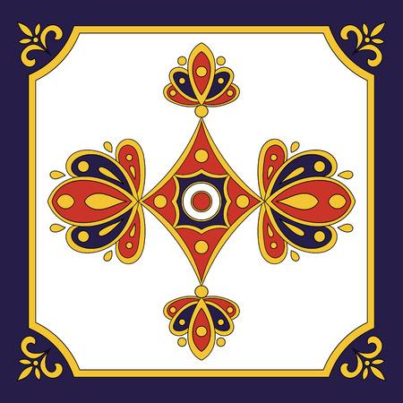 talavera: Spanish tile blue red pattern. Ornamental tile pattern design.
