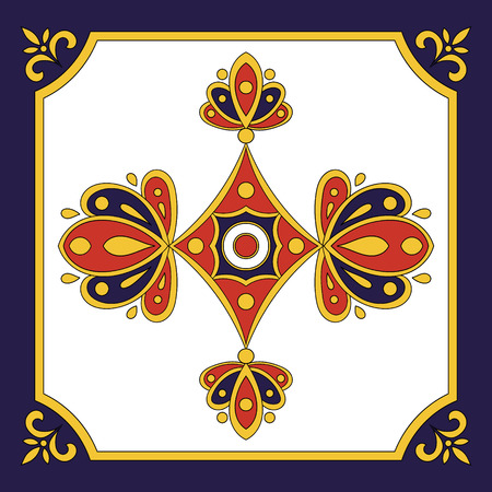 Spanish tile blue red pattern. Ornamental tile pattern design.