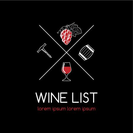 Wine label in modern line style. Wine logo for organic wine, wine list, menu bar or restaurant