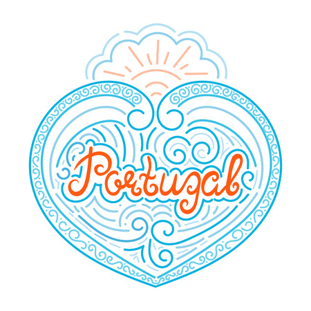 Portugal hand drawn typography illustration isolated vector with ocean waves. Unique print for fashion clothing apparel t-shirt, touristic souvenir postcard or Portuguese vacation banner.