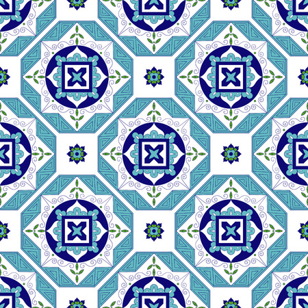 talavera: Tile pattern vector with diagonal ornaments. Portuguese azulejo, mexican, spanish, moroccan motifs. Tiles floor design. Background for wallpaper, surface texture, wrapping or fabric.