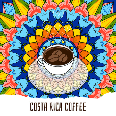 Costa Rica coffee colorful illustration