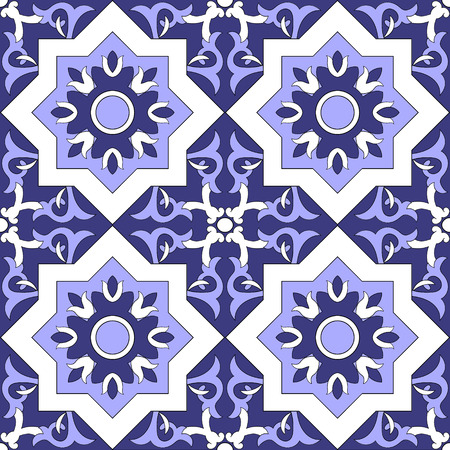 talavera: Ornamental pattern vector seamless blue and white color. Tile pattern - azulejo, portuguese tiles, celtic, spanish, moroccan, talavera, turkish or delft dutch tiles design with flowers motifs.