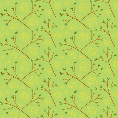 Springtime background with branch with buds. Spring pattern with sunny weather vector seamless.