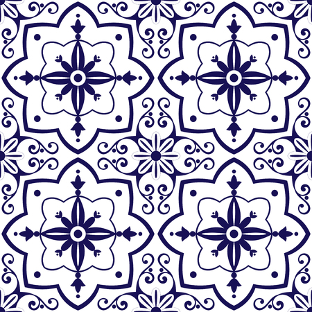 Mexican tiles pattern vector with blue and white flowers ornaments. Portuguese azulejo, spanish or moroccan motifs. Tiled background for wallpaper, surface texture, wrapping or fabric.