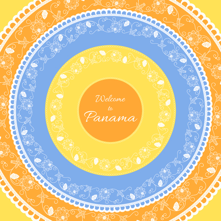 panamanian: Welcome to Panama. Vector illustration. Travel design with round flower pollera ornaments on sunny background. Concept for tourism banner, cover, information card or flyer template.