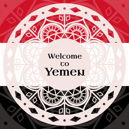 Welcome to Yemen. Vector illustration. Travel design with lace round ornaments on flag colors background. Concept for tourism banner, cover, information card or flyer template. 일러스트