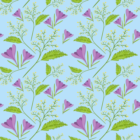 Spring flower pattern vector seamless. Spring pattern with crocus and mimosa in blue, green, purple and yellow color