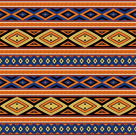 Tribal pattern seamless vector. Bright ethnic Peruvian pattern design with quechua traditional elements.