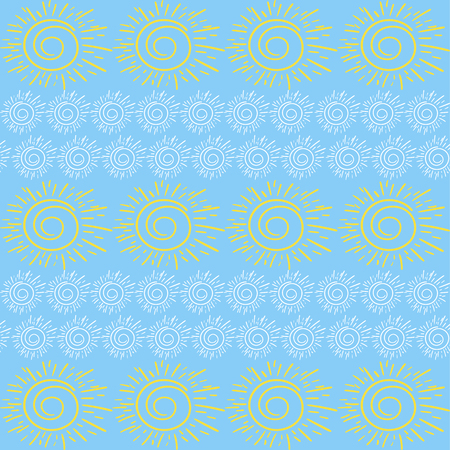 Spring sunny pattern vector seamless. Spring pattern with sun on blue background in child baby style Illustration