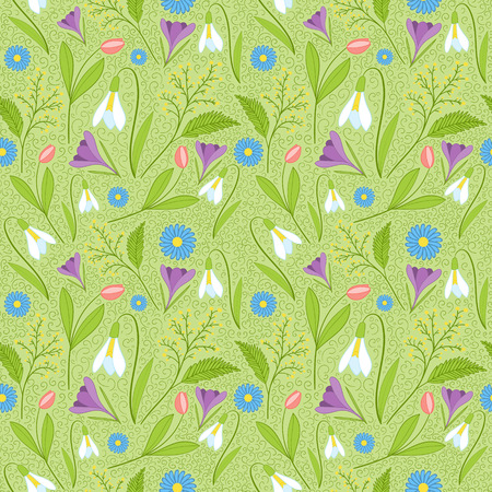 Spring pattern vector seamless. Fresh green pattern with spring flowers - snowdrop, crocus, tulip, mimosa and daisy.