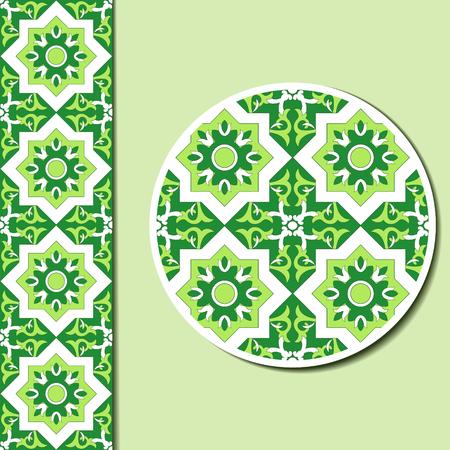 talavera: Seamless geometric ornamental pattern and decorative plate for interior design. Ornament saucer for cup of coffee or tea. Arabic ornament for ceramic, home decor vector illustration.