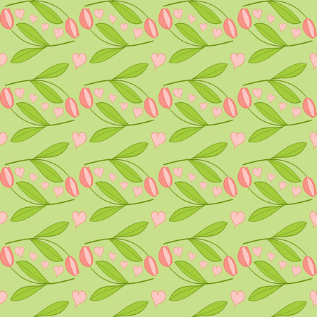 greenness: Spring pattern vector seamless with tulips and hearts. Tulip background with pink flowers on green Illustration