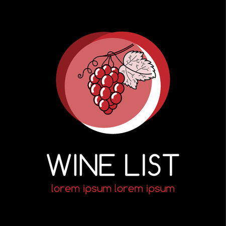 port of spain: Wine logo or label for wine list, vineyard or winery. Wine list logo with grape.
