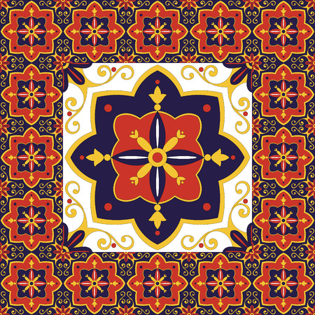 talavera: Tiles floor - vintage pattern vector with ceramic cement tiles. Big tile in center is framed in small. Background with portuguese azulejo, mexican, moroccan, spanish, arabic motifs.