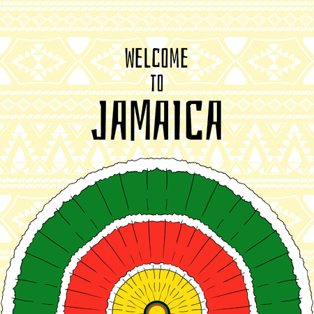 Welcome to Jamaica vector. Jamaica flyer or banner for tourist design. Colorful print for card, poster or background. Jamaican tribal concept.