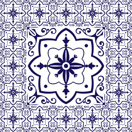 edwardian: White blue tiles floor - vintage pattern vector with ceramic cement tiles. Big tile in center is framed in small. Background with portuguese azulejo, mexican talavera, spanish, delft dutch motifs. Illustration