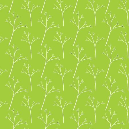 Springtime pattern vector seamless. Spring pattern with branch and buds in green color