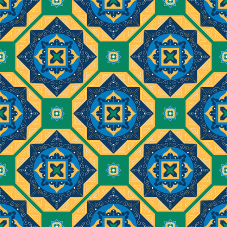 Tile pattern vector with diagonal ornaments in green, blue and yellow colors. Portuguese azulejo, mexican, spanish, moroccan motifs. Background for wallpaper, surface texture, wrapping or fabric. Illustration