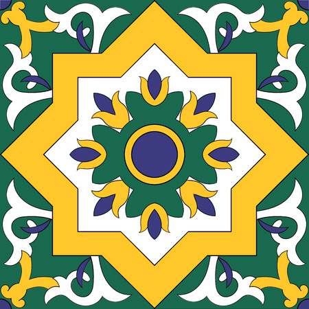 Tile pattern element - isolated design vector texture. Arabic, Mexican Talavera, Portuguese tiles azulejo, spanish, italian, turkish or moroccan ornaments. Blue, yellow, green and white tiled pattern seamless