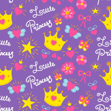 Little princess pattern vector. Cute girl background for template birthday card, baby shower invitation, girls wallpaper and fabric. Kids print with stars, flowers, crowns, bows and hearts. Stock Illustratie