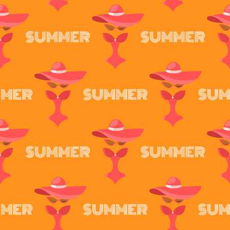 monokini: Seamless summer pattern background vector. Woman fashion concept. Pattern with summer symbols - woman hat, swimsuit monokini and sunglasses. Vector vacation pattern for summer.