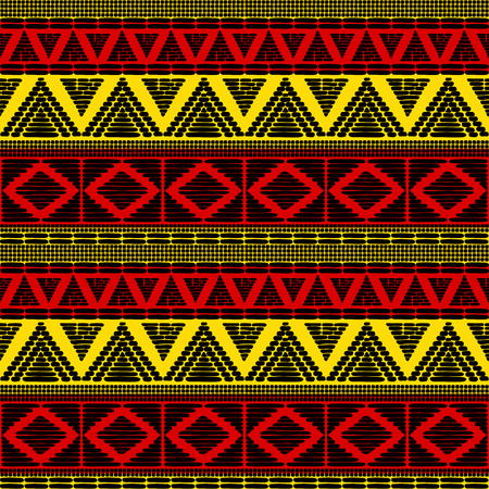 Stammenpatroon vector naadloos. Afrikaanse achtergrond met vlaggen in Uganda. Ethische textuur. Ontwerp voor stof, behang, inpakpapier en kaartsjabloon. Vector Illustratie
