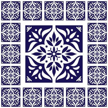 edwardian: Tiles floor - vintage pattern vector with ceramic cement tiles. Big tile in center is framed in small. Background with portuguese azulejo, mexican, spanish, arabic, moorish ceramics motifs. Illustration