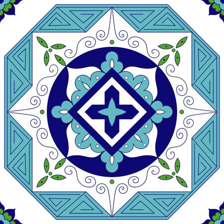 Mexican tiles pattern vector. Ornamental tile design.