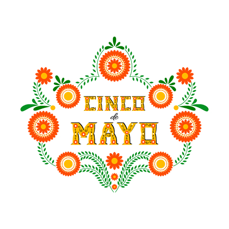 Cinco de Mayo排版横幅矢量。Fiesta卡或党邀请和海报的墨西哥设计。与花卉信件的花传统墨西哥刺绣框架在白色背景。
