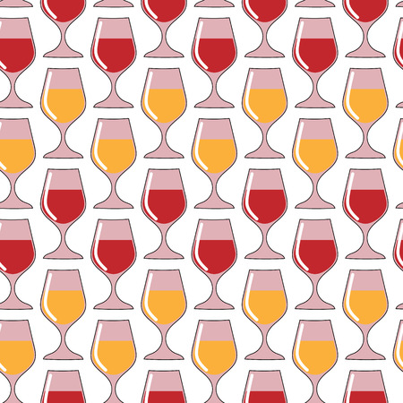 port of spain: Wine glass pattern vector seamless. Pattern with glasses of red and white wine. Illustration