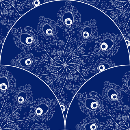 Scale pattern vector seamless with peacock feathers hat. Blue white asian ornament. Oriental background for card, web design, wrapping paper, wedding invitation, flyer and banner.