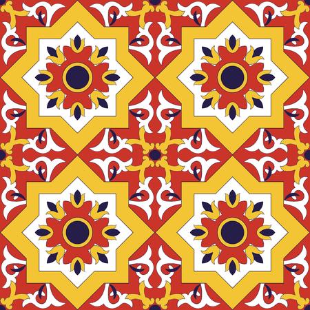 스페인어 타일 패턴 벡터 꽃 모티프와 원활 하 게합니다. Azulejo 포르투갈어 타일, 멕시코 talavera 또는 이탈리아어 majolica 모티프. 래핑, 배경 또는 세라