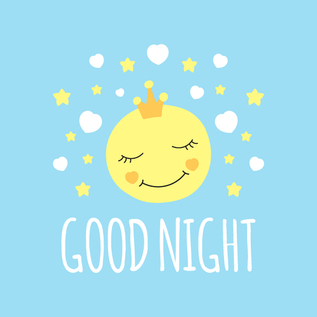 Cute moon in crown print vector. Good night background. Design for bed sleeping poster, illustration, fashion patches stickers, t-shirt apparel clothing or children fabric.