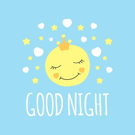 Luna carina nel vettore di stampa corona. Buona notte sfondo Design per poster letto dormitorio, illustrazione, adesivi patch moda, abbigliamento abbigliamento t-shirt o tessuto bambini.