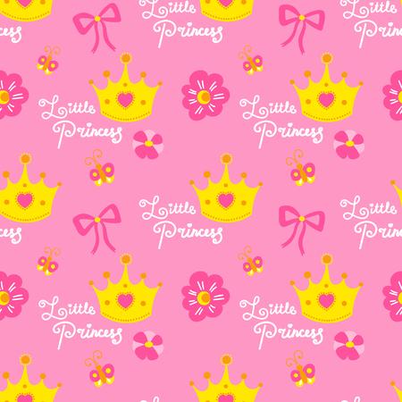Roze kleine prinses patroon vector. Leuke achtergrond voor sjabloon verjaardagskaart, baby shower uitnodiging, behang en stof. Baby meisje print met kronen, harten, bloemen, bogen en vlinders. Stock Illustratie